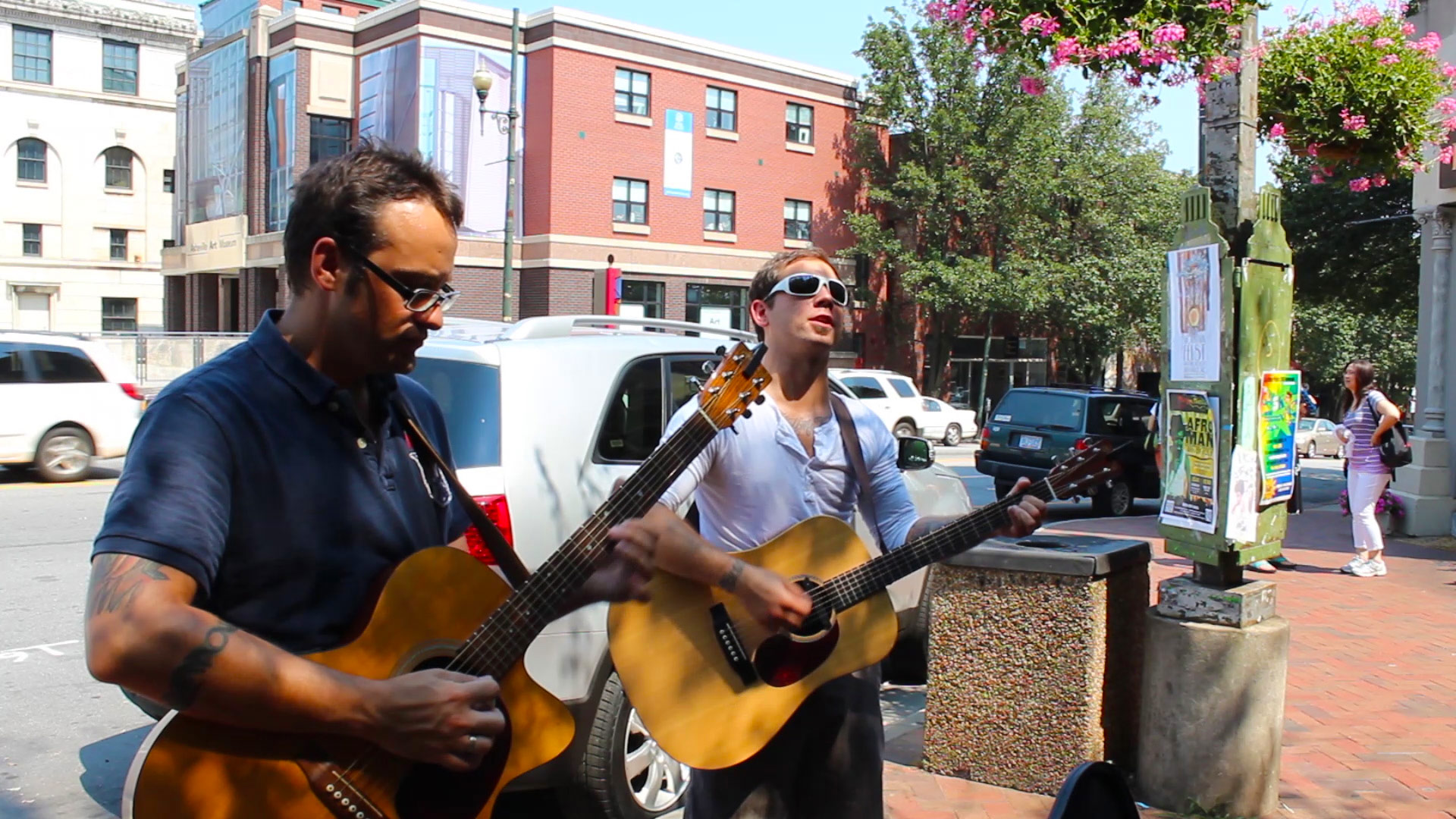 Marshall Railroad takes a tour break to busk in Asheville